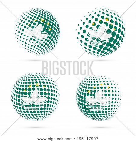 Macao Halftone Flag Set Patriotic Vector Design. 3D Halftone Sphere In Macao National Flag Colors Is