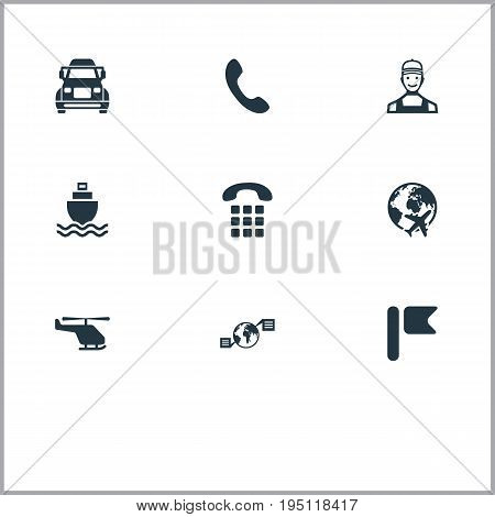 Vector Illustration Set Of Simple Engineering Icons. Elements Truck, Flying, Flag And Other Synonyms Courier, Road And World.