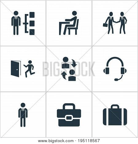 Vector Illustration Set Of Simple Hr Icons. Elements Hierarchy, Earmuff, Interaction And Other Synonyms Headphones, Hierarchy And Evacuation.