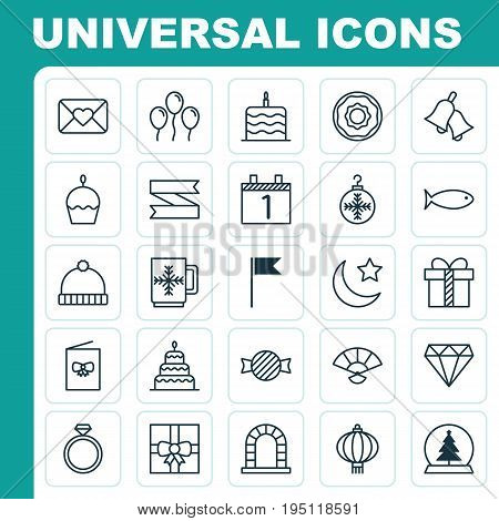Happy Icons Set. Collection Of Blank Ribbon, Traditional Lamp, Arch And Other Elements. Also Includes Symbols Such As Hat, Ball, Cupcake.