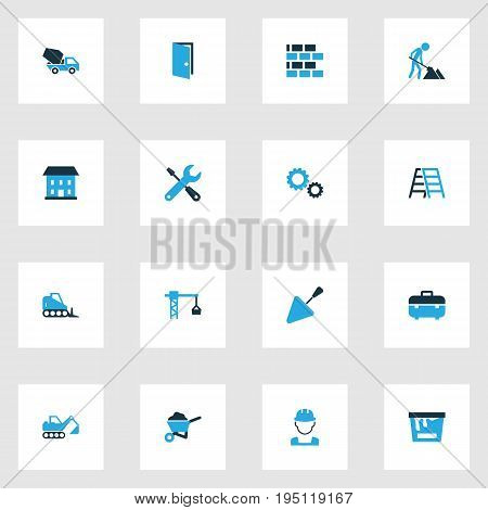 Industry Colorful Icons Set. Collection Of Wall, Open, Dozer And Other Elements. Also Includes Symbols Such As Putty, Builder, Wheelbarrow.