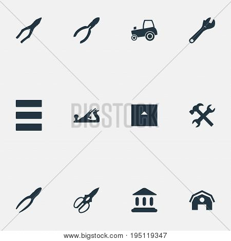 Vector Illustration Set Of Simple Work Icons. Elements Workshop, Task, Home And Other Synonyms Wrench, Clamping And Hangar.