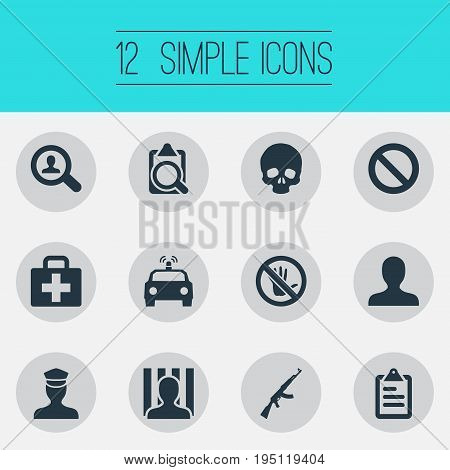 Vector Illustration Set Of Simple Crime Icons. Elements Skeleton, M16, Person And Other Synonyms Punishment, Board And Person.
