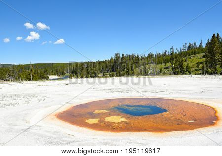 Chromatic Pool in the Upper Geyser Basin of Yellowstone National Park. the pool shares and underground link with the nearby Beauty Pool.