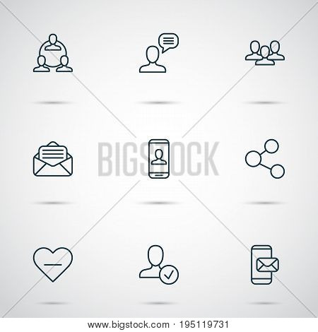 Network Icons Set. Collection Of Talking Person, Privacy Information, Read Message And Other Elements. Also Includes Symbols Such As Mobile, Group, Messaging.