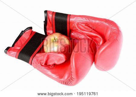 Pair Of Leather Boxing Sportswear With Red Apple. Professional Box