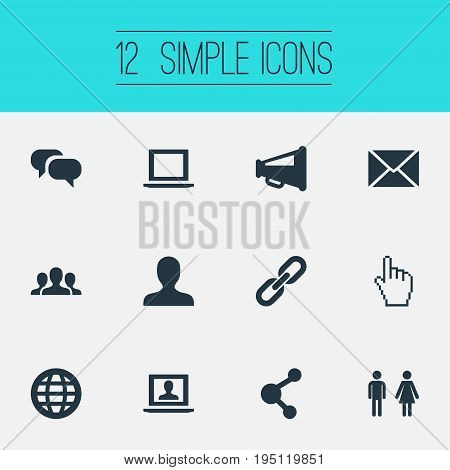 Vector Illustration Set Of Simple Social Icons. Elements Profile, Genus, Megaphone And Other Synonyms Computer, Publication And Mail.