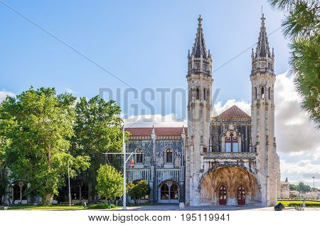 View at the towers of Jeronimos Monastery in Lisbon - Portugal