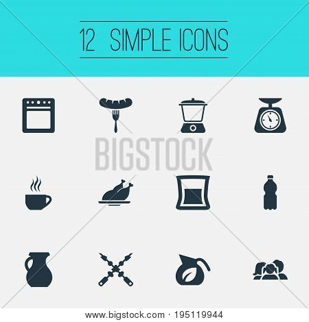 Vector Illustration Set Of Simple Kitchen Icons. Elements Stove, Domestic, Breakfast And Other Synonyms Pot, Stove And Equilibrium.