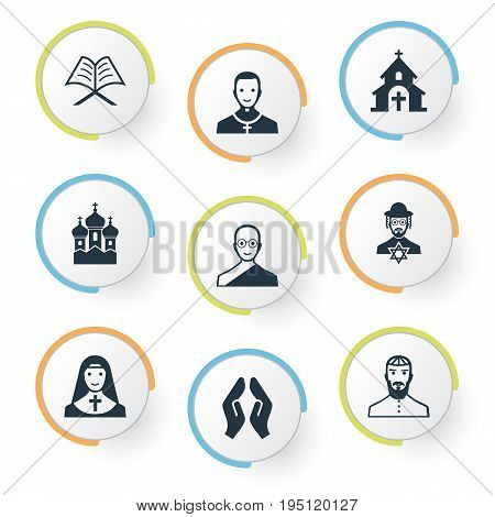 Vector Illustration Set Of Simple Faith Icons. Elements Pater, Jewish Clergy, Orison And Other Synonyms Jewish, Bald And God.
