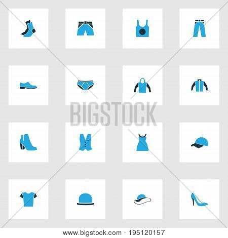 Clothes Colorful Icons Set. Collection Of Socks, Underwear, Shorts And Other Elements. Also Includes Symbols Such As Sox, Underpants, Singlet.