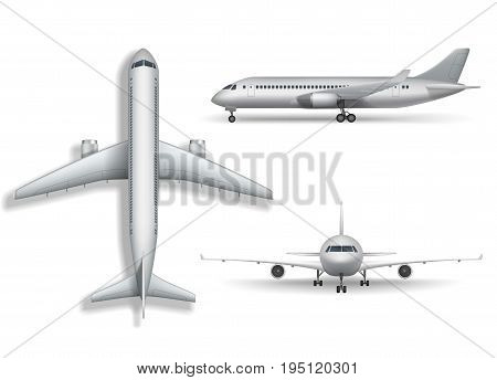 Aircraft, airplane, airliner vector. Set of air plane front side and top illustration. EPS 10