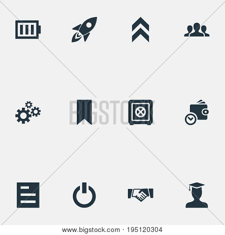 Vector Illustration Set Of Simple Teamwork Icons. Elements Questionnaire, Switch Off, Arrow Up And Other Synonyms Team, Spaceship And Energy.