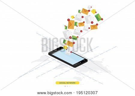 3D isometric concept. New message notification icon in smartphone against the background of the world map. Vector illustration EPS 10
