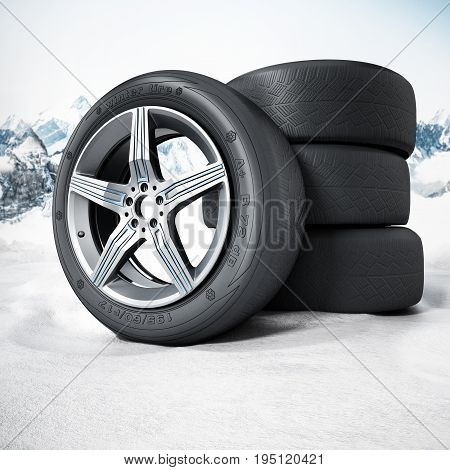 Winter tyres standing on snow. 3D illustration.