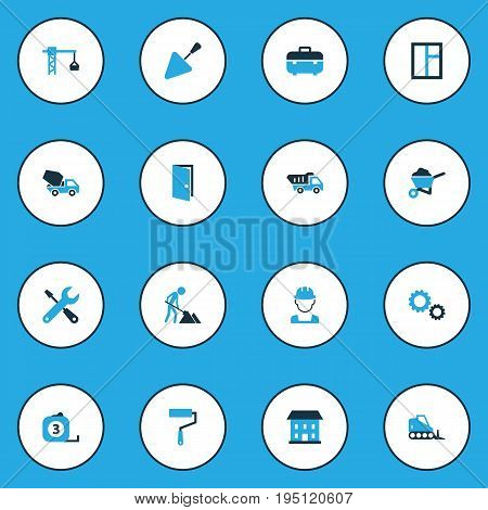 Industry Colorful Icons Set. Collection Of Case, Putty Knife, Glass And Other Elements. Also Includes Symbols Such As Meter, Wrench, Instruments.