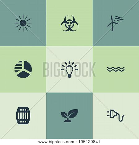 Vector Illustration Set Of Simple Energy Icons. Elements Naval, Socket, Windmill And Other Synonyms Circle, Solar And Windmill.