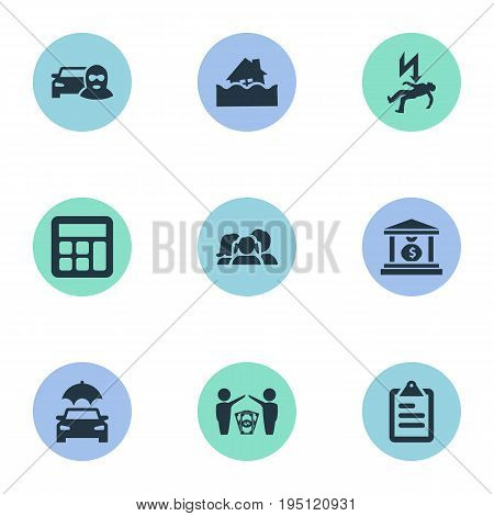 Vector Illustration Set Of Simple Safeguard Icons. Elements Questionaire, Health Guarantees, Automobile And Other Synonyms Insurance, Car And Money.