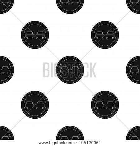 Road sign overtaking is prohibited .Car single icon in black style vector symbol stock illustration .