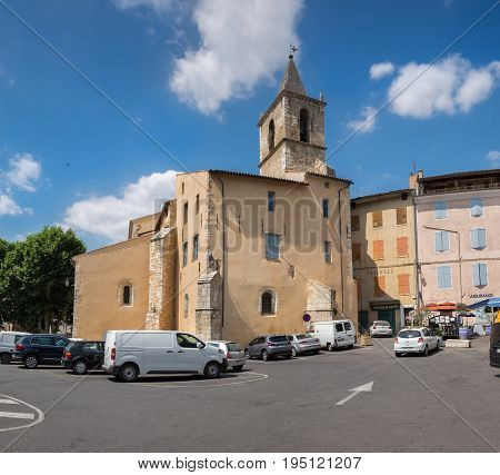 Panoramic View Of Main Square Of Riez. Typical Town Of Provence Region. France