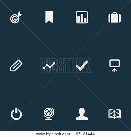 Vector Illustration Set Of Simple Startup Icons. Elements Magazine, Switch Off, Globe And Other Synonyms Board, Growth And Goal.