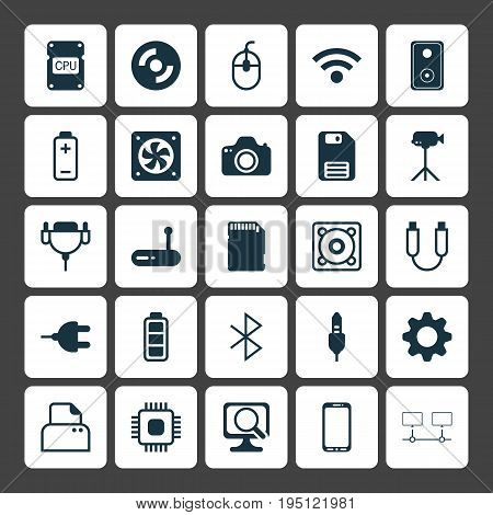 Computer Icons Set. Collection Of Aux Cord, Cpu, Audio Device And Other Elements. Also Includes Symbols Such As Photo, Cooler, Scan.