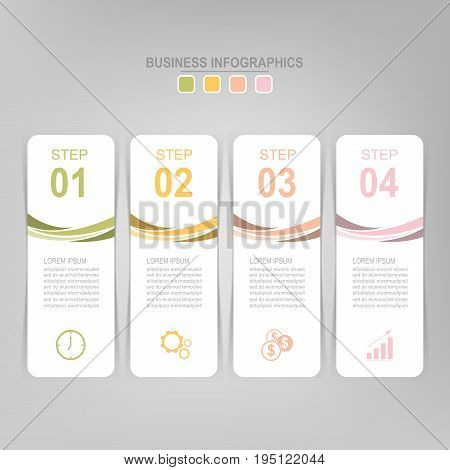 Infographic template of four steps on squares tag banner work sheet flat design of business icon vector