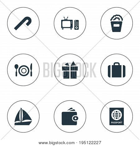 Vector Illustration Set Of Simple Festal Icons. Elements Travel Document, Supper, Handbag Synonyms Travel, Popcorn And Yacht.