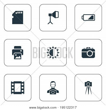 Vector Illustration Set Of Simple Photographer Icons. Elements Film Strip, Flame Instrument, Cameraperson And Other Synonyms Energy, Battery And Camera.