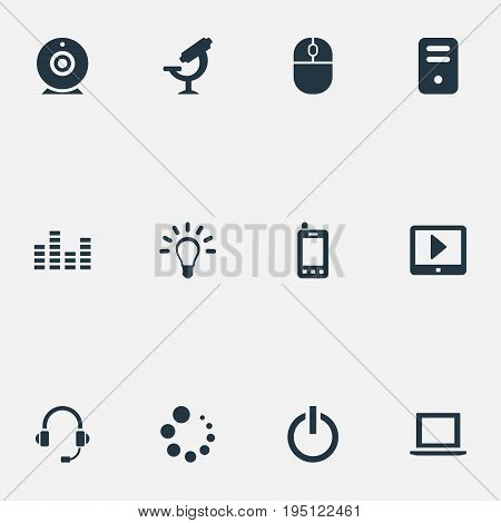 Vector Illustration Set Of Simple Technology Icons. Elements Microbiology, Waiting, Headphones And Other Synonyms Optical, Headsets And Power.