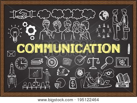 Hand drawn icons about communication on chalkboard. Vector illustration