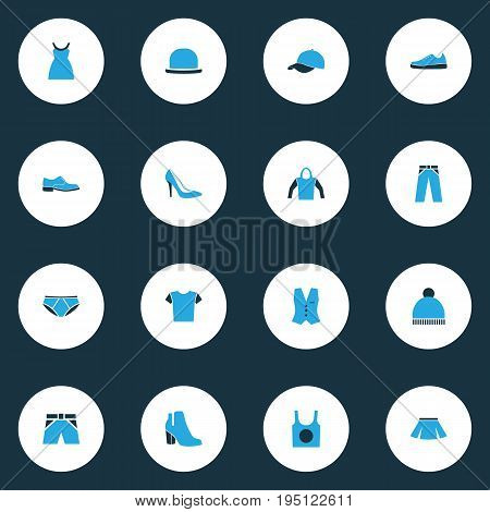 Garment Colorful Icons Set. Collection Of Trousers, Vest, Female Boots And Other Elements. Also Includes Symbols Such As Gumshoes, Girl, Hat.