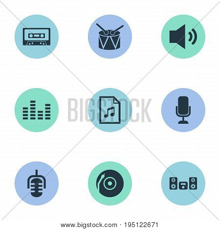 Vector Illustration Set Of Simple Music Icons. Elements Walkman, Turntable, Record And Other Synonyms Studio, Microphone And Recorder.