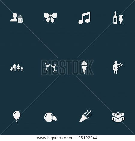Vector Illustration Set Of Simple Banquet Icons. Elements Tone, Wine, Team And Other Synonyms Team, Sorbet And Pub.