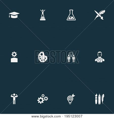 Vector Illustration Set Of Simple Creative Thinking Icons. Elements Project Aim, Champion, Cameraman And Other Synonyms Science, Academic And Businessman.