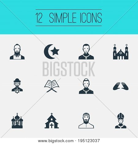 Vector Illustration Set Of Simple Religion Icons. Elements Taoism, Pater, Christian And Other Synonyms Pope, Cardinal And Reverend.