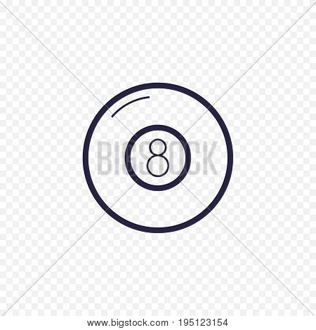 Pool Eight Ball Line Icon. Billiard Game Thin Linear Signs. Outline Magic Ball Simple Concept For We
