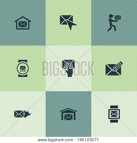 Vector Illustration Set Of Simple Message Icons. Elements Postal Box, Burn, Choose And Other Synonyms Computer, Notification And Chat.