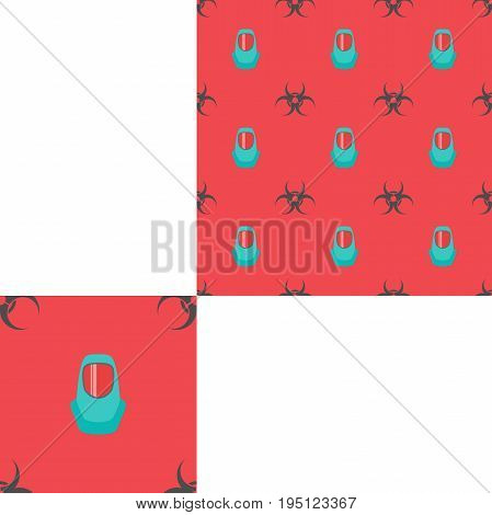 Seamless pattern of Rescue and fire with biohazard sign text and green helmets on the red background with pattern unit.