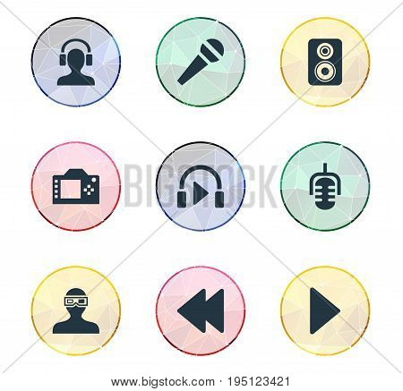 Vector Illustration Set Of Simple Multi Icons. Elements Meloman, Photo Apparatus, Music Listening And Other Synonyms Music, Mike And Play.