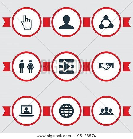 Vector Illustration Set Of Simple Social Icons. Elements Cursor, Media Control, Team And Other Synonyms Social, Agreement And Signalman.