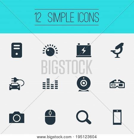 Vector Illustration Set Of Simple Hitech Icons. Elements System Unit, Music Equalizer, Spectacles And Other Synonyms Photography, Phone And 3D.