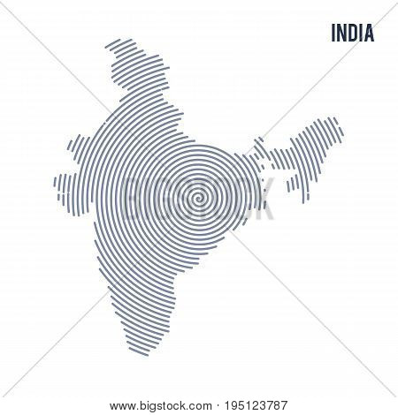 Vector Abstract Hatched Map Of India With Spiral Lines Isolated On A White Background.