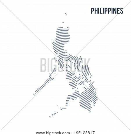 Vector Abstract Hatched Map Of Philippines With Spiral Lines Isolated On A White Background.