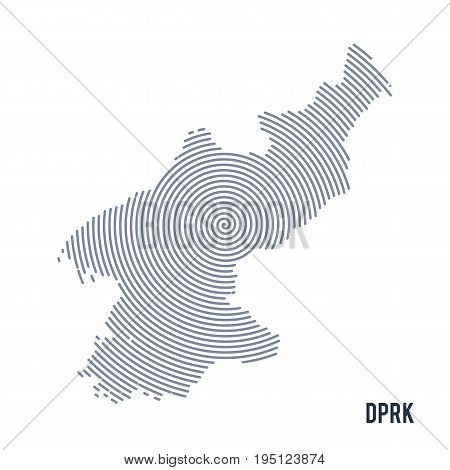 Vector Abstract Hatched Map Of Democratic People's Republic Of Korea With Spiral Lines Isolated On A