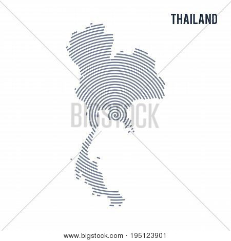 Vector Abstract Hatched Map Of Thailand With Spiral Lines Isolated On A White Background.
