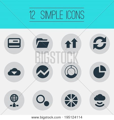 Vector Illustration Set Of Simple Analysis Icons. Elements Internet Server, Circular Diagram, Pie Chart And Other Synonyms Cloud, Card And Update.
