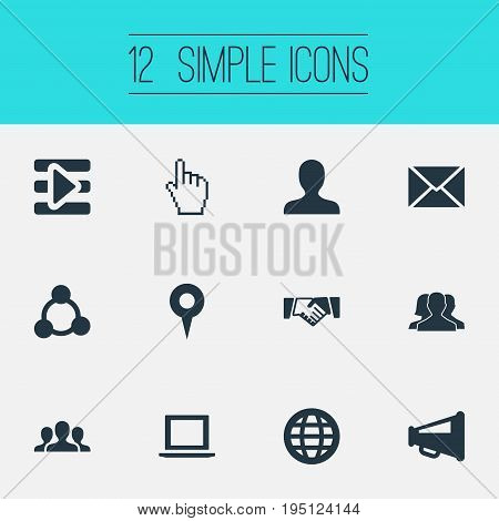 Vector Illustration Set Of Simple Media Icons. Elements Profile, Web, Notebook And Other Synonyms Team, Agreement And Signalman.
