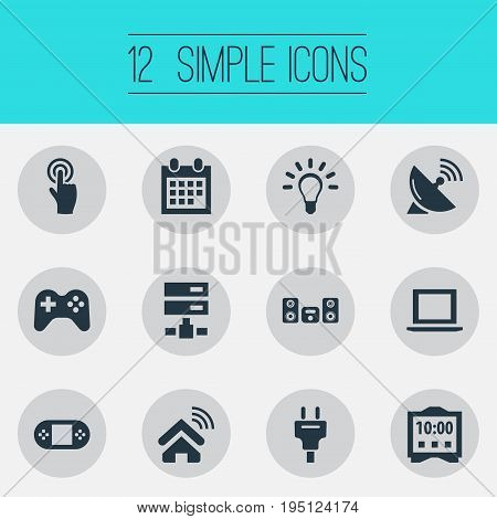 Vector Illustration Set Of Simple Web Icons. Elements Interactive Display, Bulb, Game Controller And Other Synonyms Plug, Multimedia And Innovation.