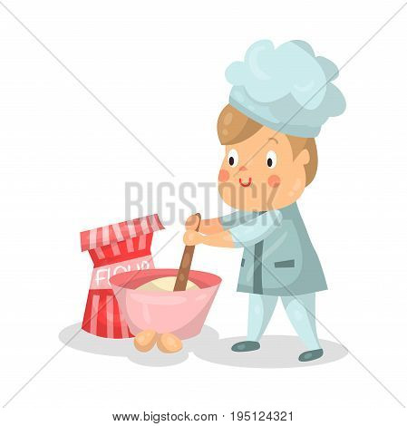 Cute cartoon little boy chef character with mixing bowl and a whisk vector Illustration isolated on a white background